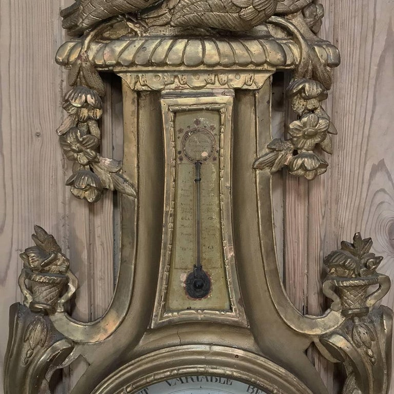 18th Century Giltwood Hand-Carved Barometer - Thermometer In Good Condition For Sale In Dallas, TX