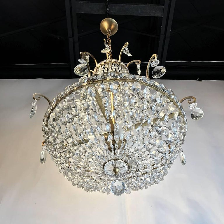 Mid-Century Antique Crystal Chandelier For Sale 2 - Mid-Century Antique Crystal Chandelier At 1stdibs