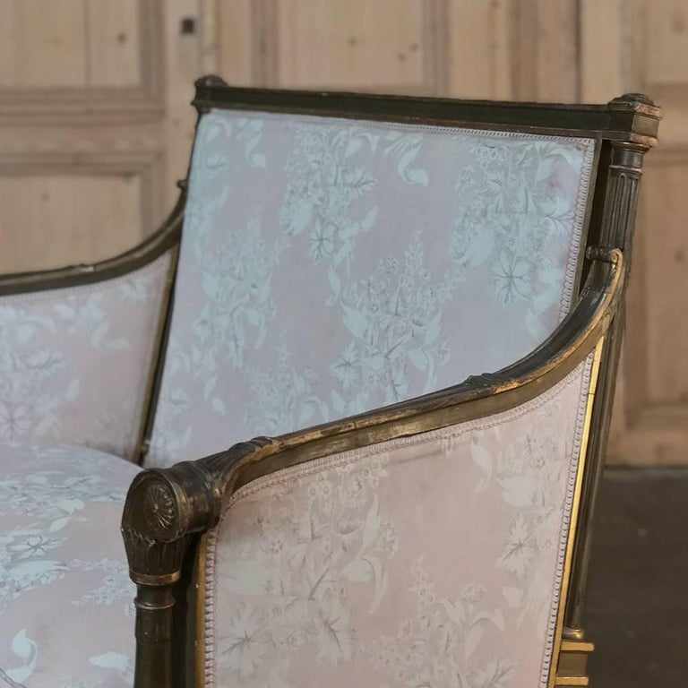 Hand-Carved 19th Century French Louis XVI Gilded Grand Bergere Chair and Half , French Toile For Sale