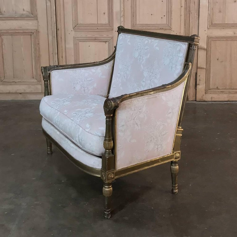 19th Century French Louis XVI Gilded Grand Bergere Chair and Half , French Toile For Sale 1