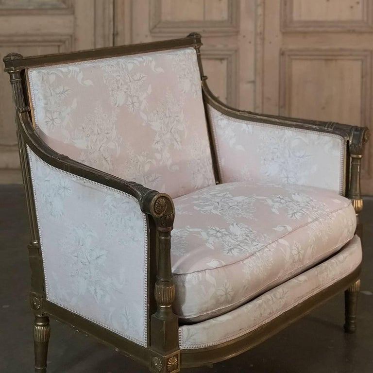 19th Century French Louis XVI Gilded Grand Bergere Chair and Half , French Toile For Sale 3