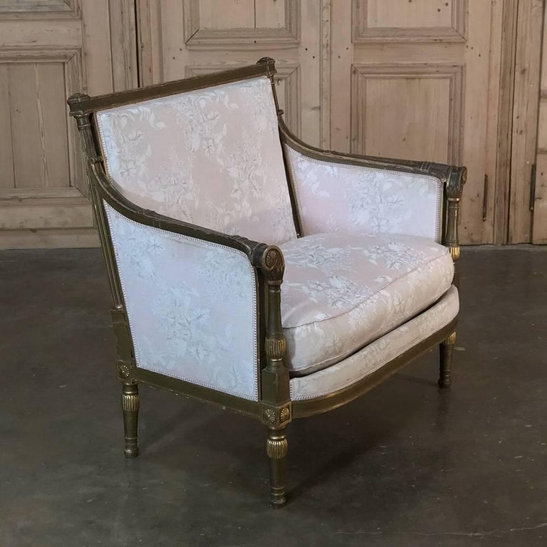19th Century French Louis XVI Gilded Grand Bergere Chair and Half , French Toile In Good Condition For Sale In Dallas, TX