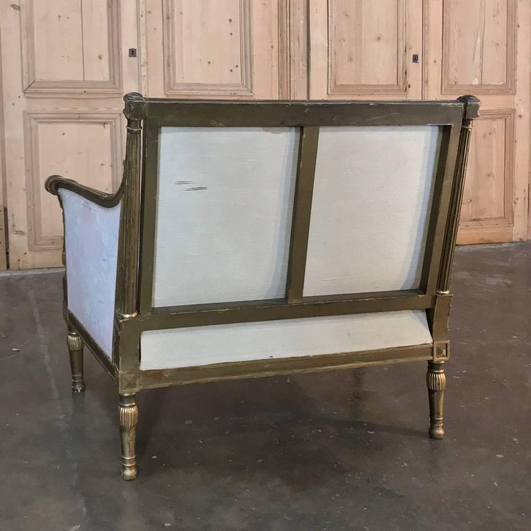 19th Century French Louis XVI Gilded Grand Bergere Chair and Half , French Toile For Sale 4