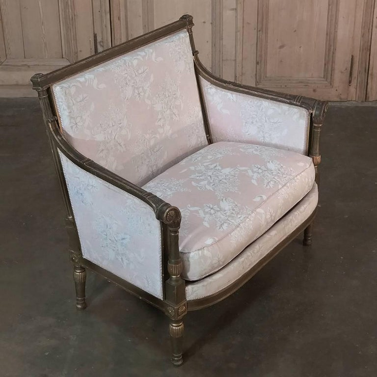 Walnut 19th Century French Louis XVI Gilded Grand Bergere Chair and Half , French Toile For Sale