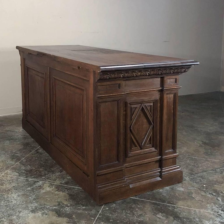 19th Century Hand Carved Oak Chapel Altar, Linen Press Counter For Sale 4