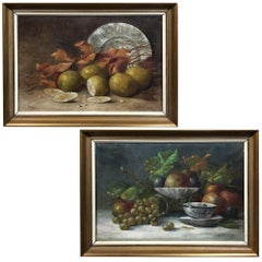 Pair of Antique Framed Oil Still Life Paintings by Jos Van Uffelen, circa 1925