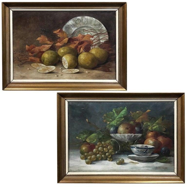 Pair of Antique Framed Oil Still Life Paintings by Jos Van Uffelen, circa 1925