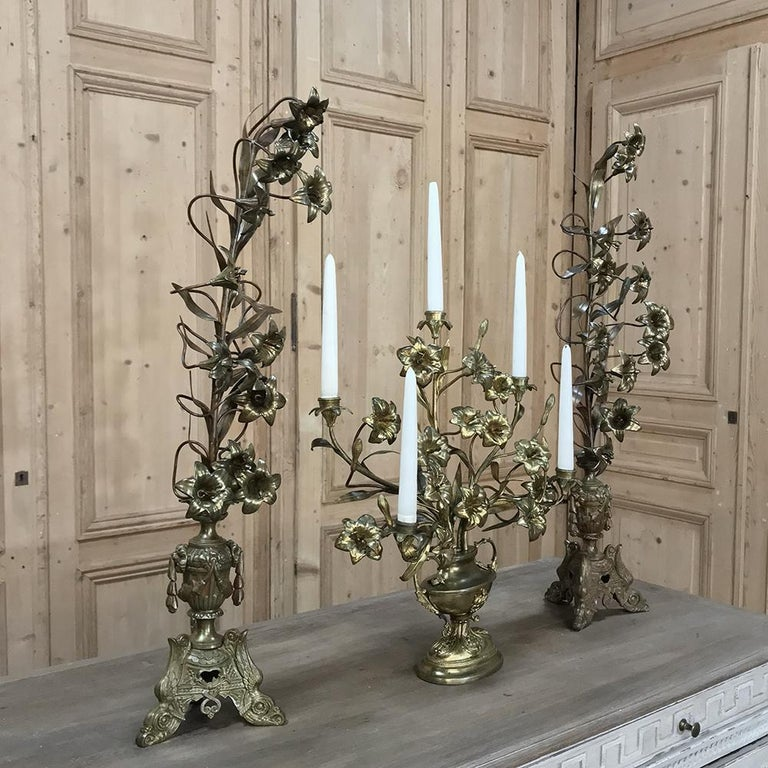 Baroque 19th Century Gilt Bronze French Altar Lilies Bouquet Candelabra For Sale