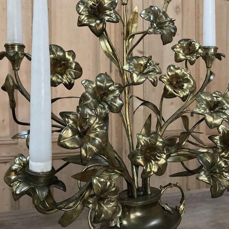 19th Century Gilt Bronze French Altar Lilies Bouquet Candelabra For Sale 2