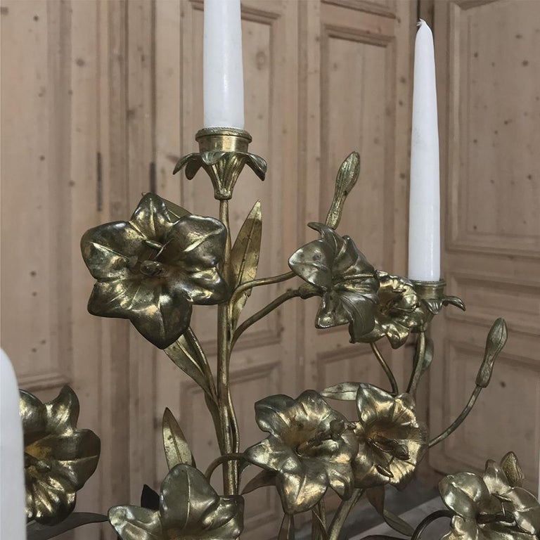 19th Century Gilt Bronze French Altar Lilies Bouquet Candelabra For Sale 3