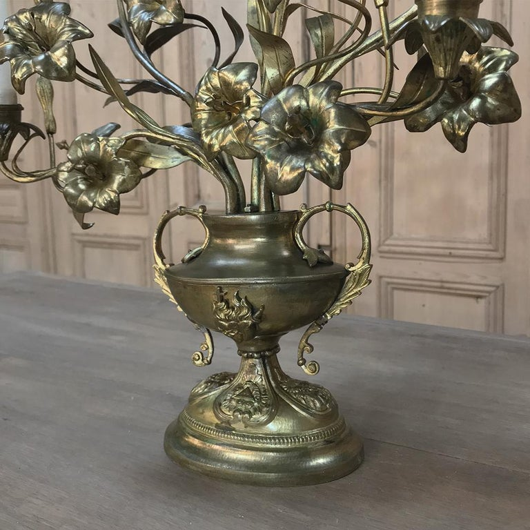 19th Century Gilt Bronze French Altar Lilies Bouquet Candelabra For Sale 5