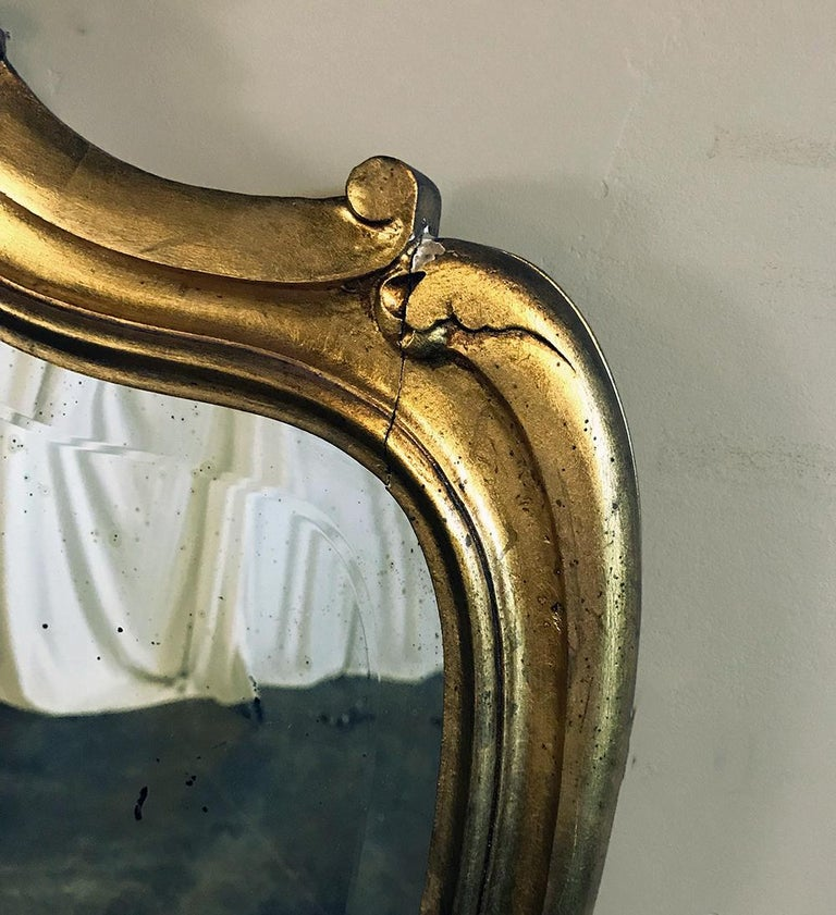 Console, Mirror, 19th Century Italian Rococo Giltwood with Marble Top For Sale 3