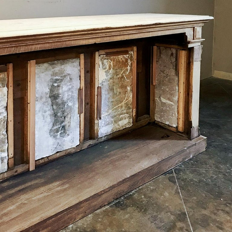19th Century Neoclassical Store Counter, Bar with Marble Inserts For Sale 3