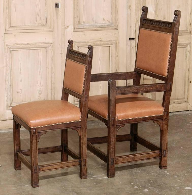 Set Of Eight Rustic Dutch Gothic Dining Chairs At 1stdibs