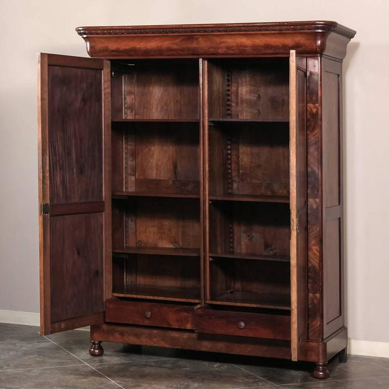 19th century french louis philippe period mahogany armoire. Black Bedroom Furniture Sets. Home Design Ideas