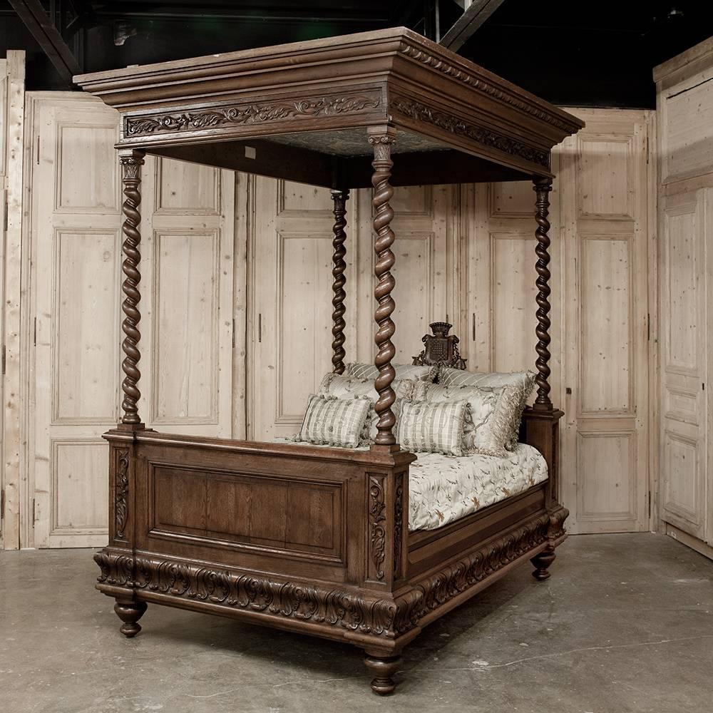 french antique renaissance revival four piece carved oak bedroom