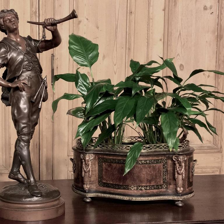 19th century napoleon iii period burl wood inlaid planter for Jardiniere napoleon 3