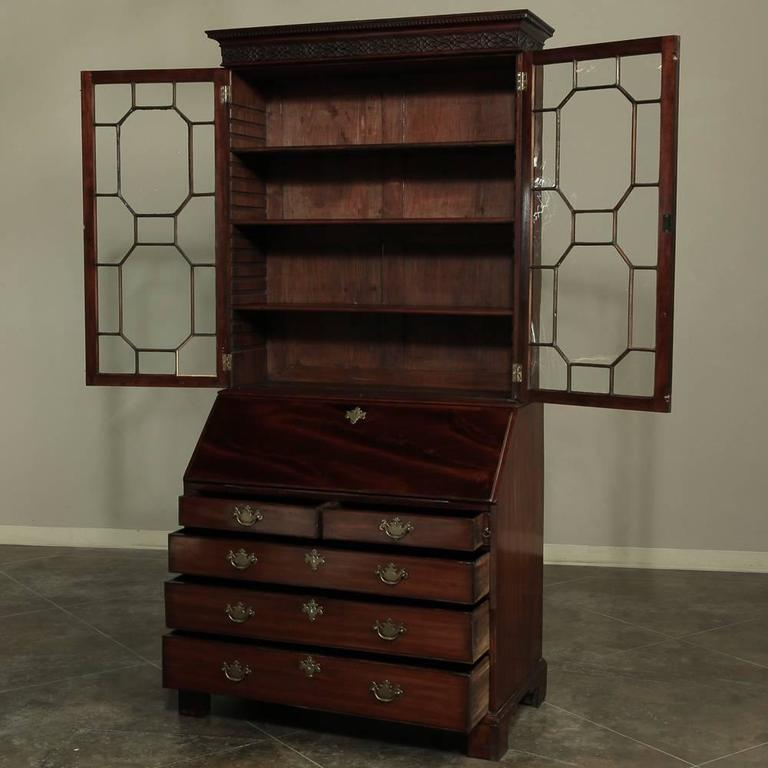 19th Century Mahogany English Secretary, Bookcase 2