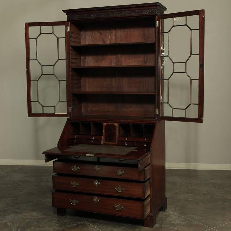 19th Century Mahogany English Secretary, Bookcase 4