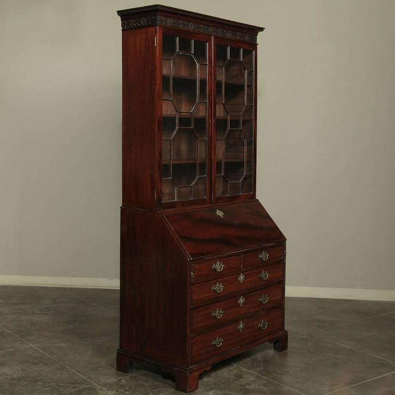 19th Century Mahogany English Secretary, Bookcase 9