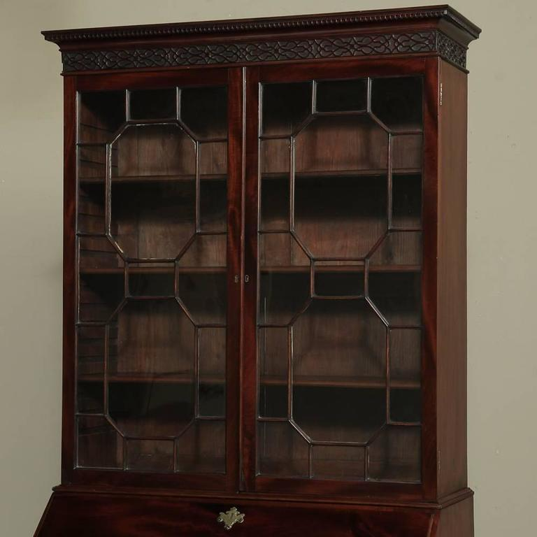 19th Century Mahogany English Secretary, Bookcase 3