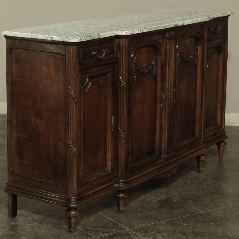 19th Century French Neoclassical Marble-Top Walnut Buffet In Good Condition For Sale In Dallas, TX