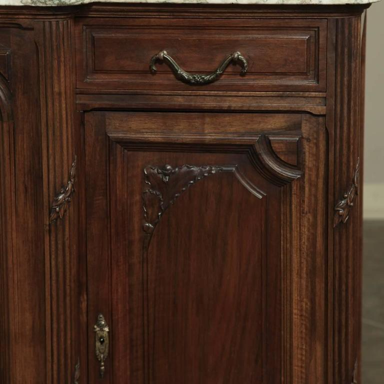 19th Century French Neoclassical Marble-Top Walnut Buffet For Sale 1