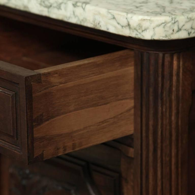 Hand-Carved 19th Century French Neoclassical Marble-Top Walnut Buffet For Sale
