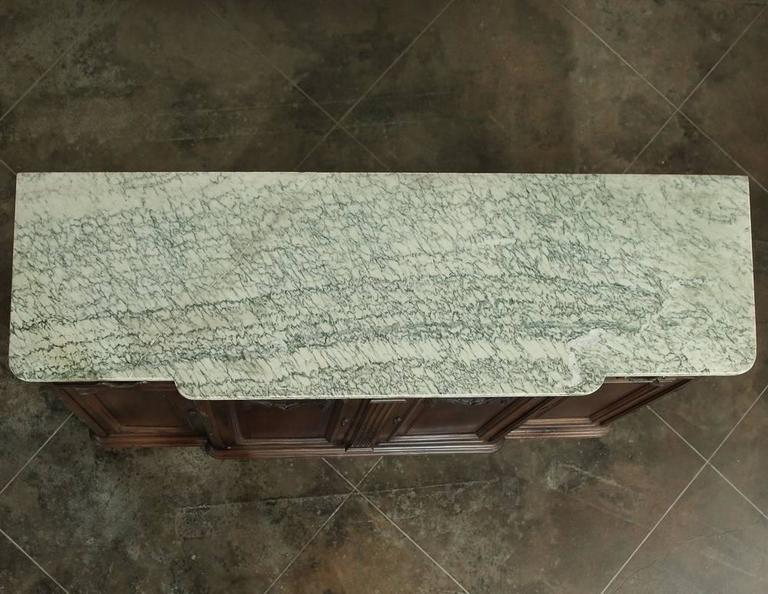 19th Century French Neoclassical Marble-Top Walnut Buffet For Sale 4