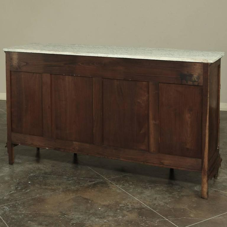 19th Century French Neoclassical Marble-Top Walnut Buffet For Sale 5