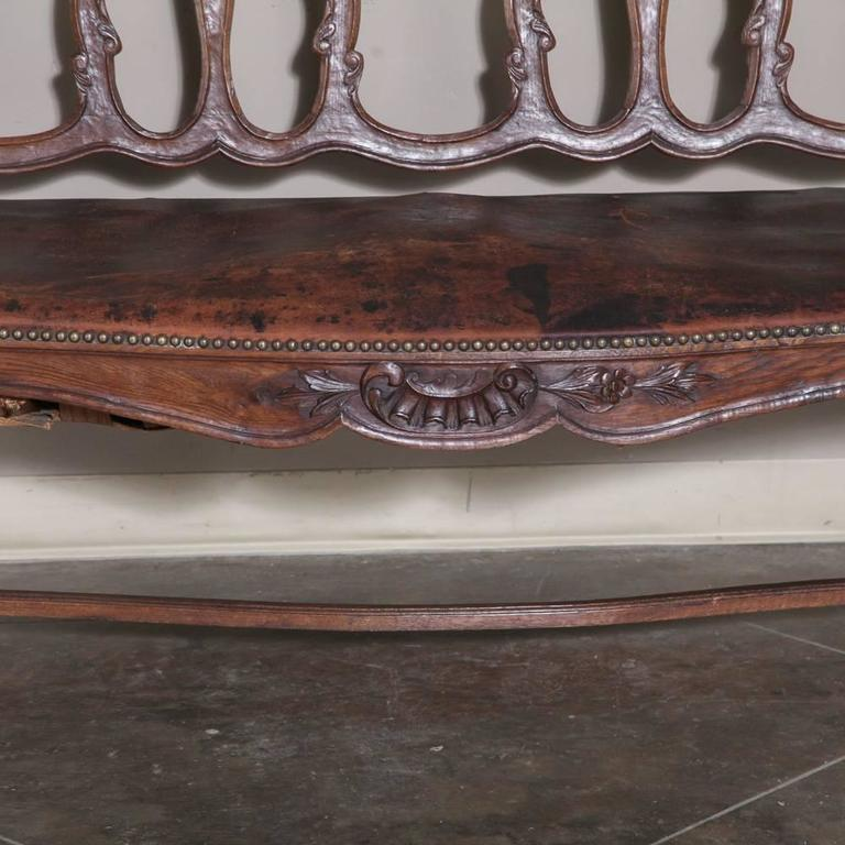 19th Century Country French Walnut Regence Canape Bench