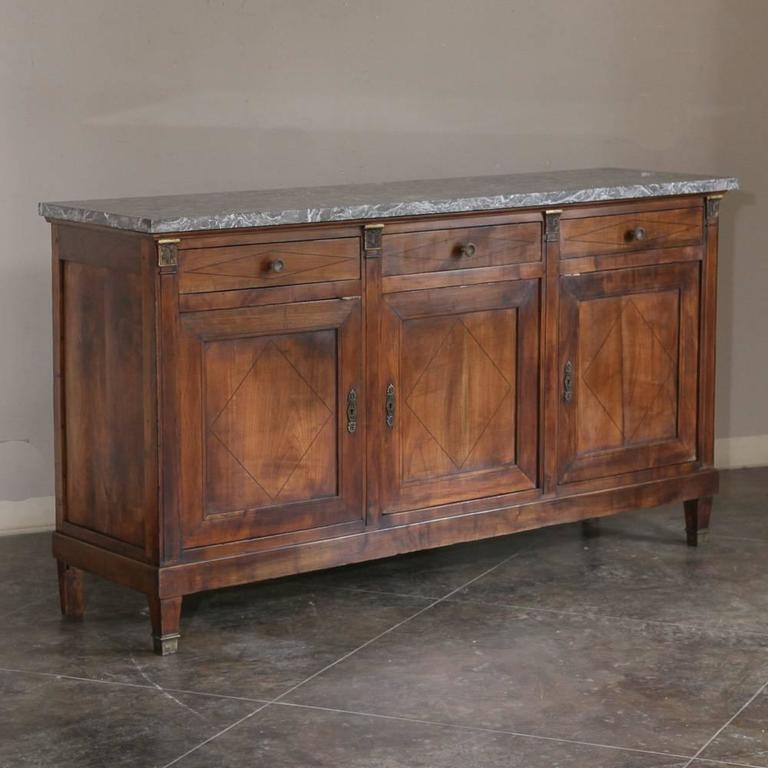19th century french empire walnut marble top buffet sideboard at 1stdibs rh 1stdibs com marble top buffet table marble top buffets and sideboards