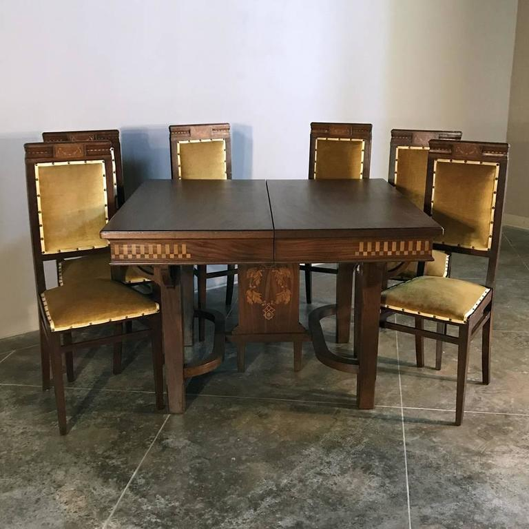 Italian art deco mahogany inlaid dining table for sale at 1stdibs - Art deco dining room table ...
