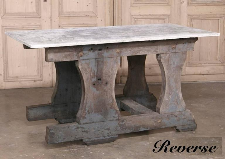 Belgian Vintage Rustic Industrial Work Table or Island with Concrete Top For Sale