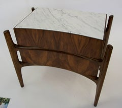 1960 William Hinn Pair of Two Drawer Nightstands with Carrera Marble Top