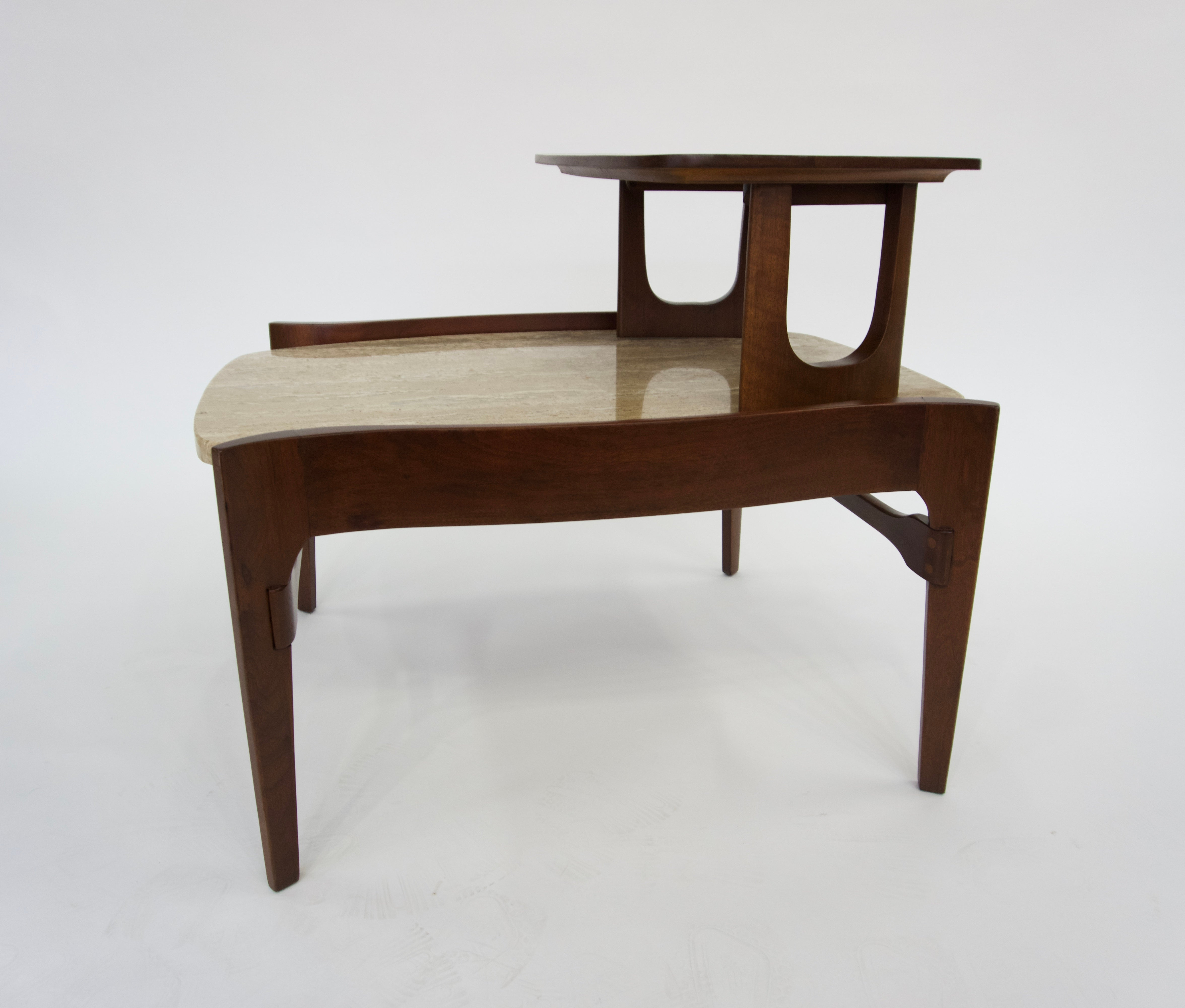Gordon Furniture Pair Of Travertine Step End Tables For Sale At 1stdibs