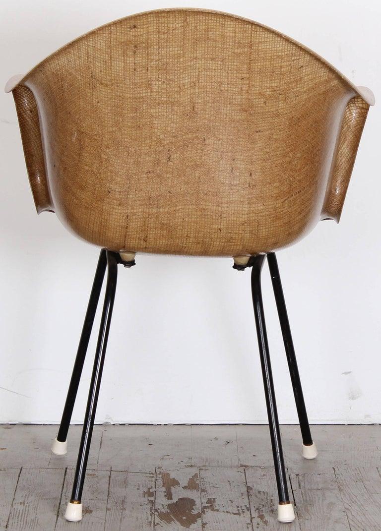 Eames Style Fiberglass Burlap Shell Armchair By Cole Steel