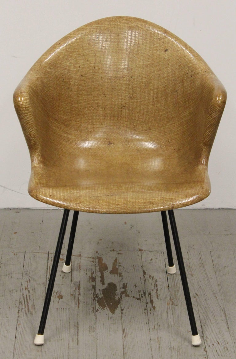Eames Style Fiberglass Burlap Shell Armchair By Cole Steel