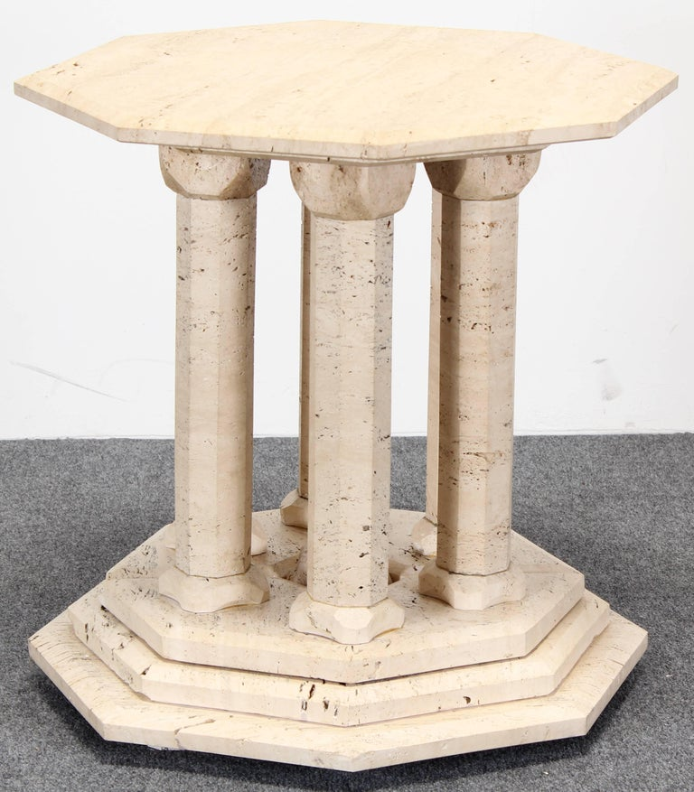 Travertine marble occasional octagon side table for sale
