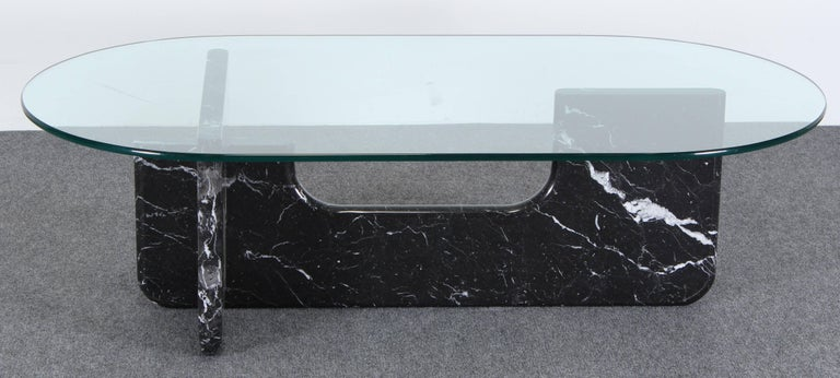 Noguchi Style Marble And Glass Coffee Table 1980 For Sale At 1stdibs