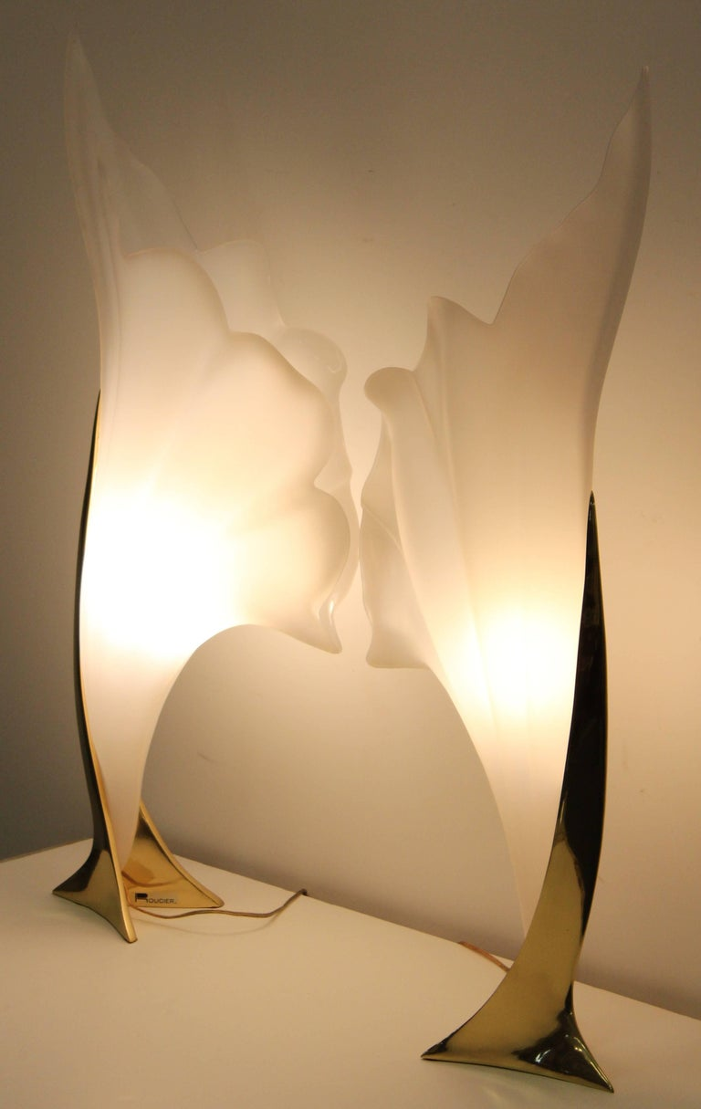 Rougier Pair of Signed Table Lamps, 1980s In Good Condition For Sale In Hamburg, PA
