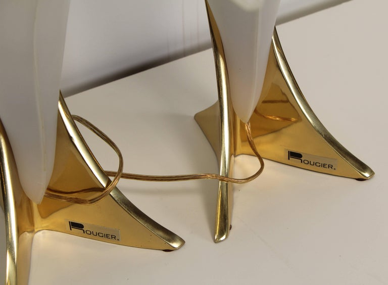 Brass Rougier Pair of Signed Table Lamps, 1980s For Sale
