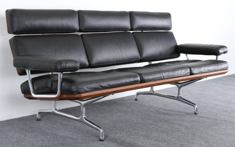 A Luxurious Soft Pad Eames Leather Three Seat Sofa For Herman Miller Created In 1984