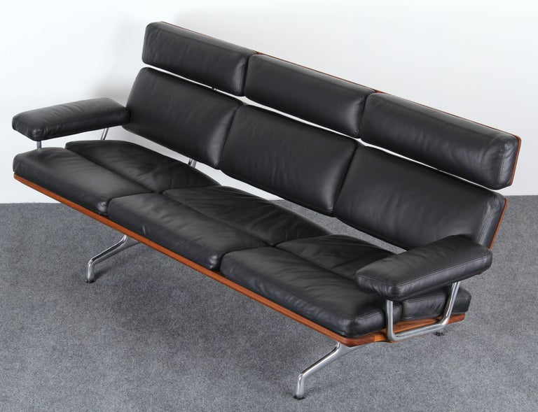 American Eames Soft Pad Leather Sofa For Herman Miller 1984