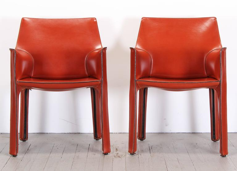 Pair Of 413 Cab Chairs By Mario Bellini By Cassina At 1stdibs