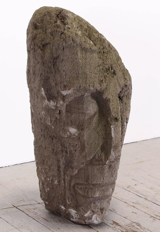 Volcanic stone abstract sculpture of a face by Umberto Romano, 1950. From the artist's estate. Base not included.