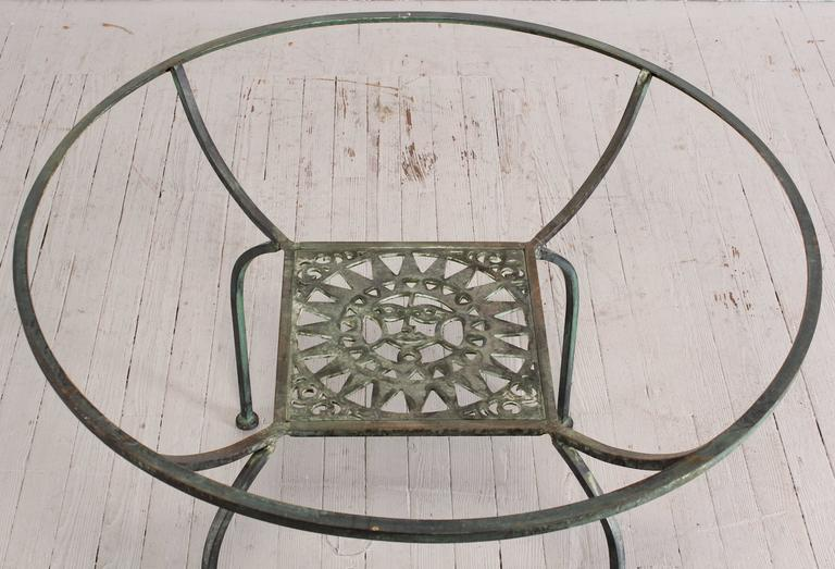 A Beautiful Painted Verdigris Seven Piece Wrought Iron Patio Set By Shaver Howard