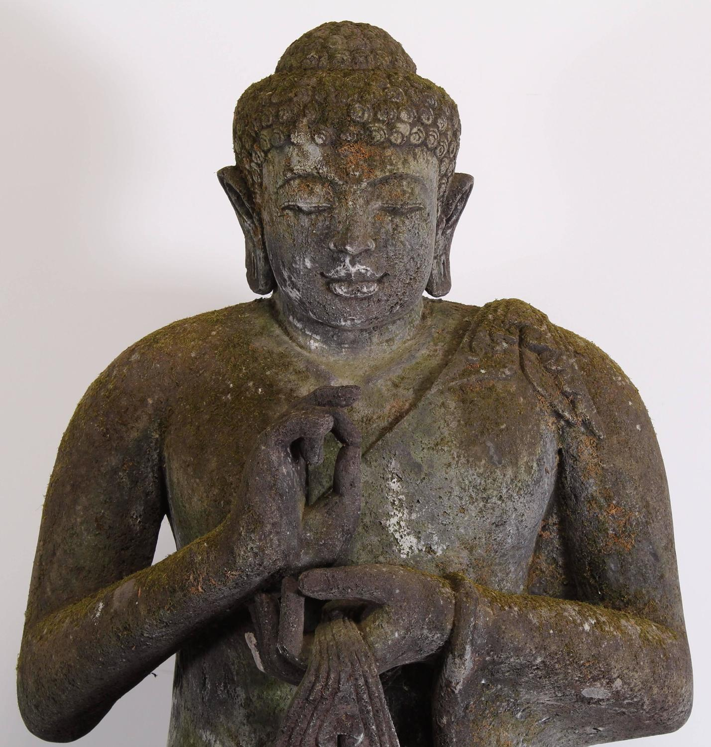 Monumental lava stone hand carved buddha th century at