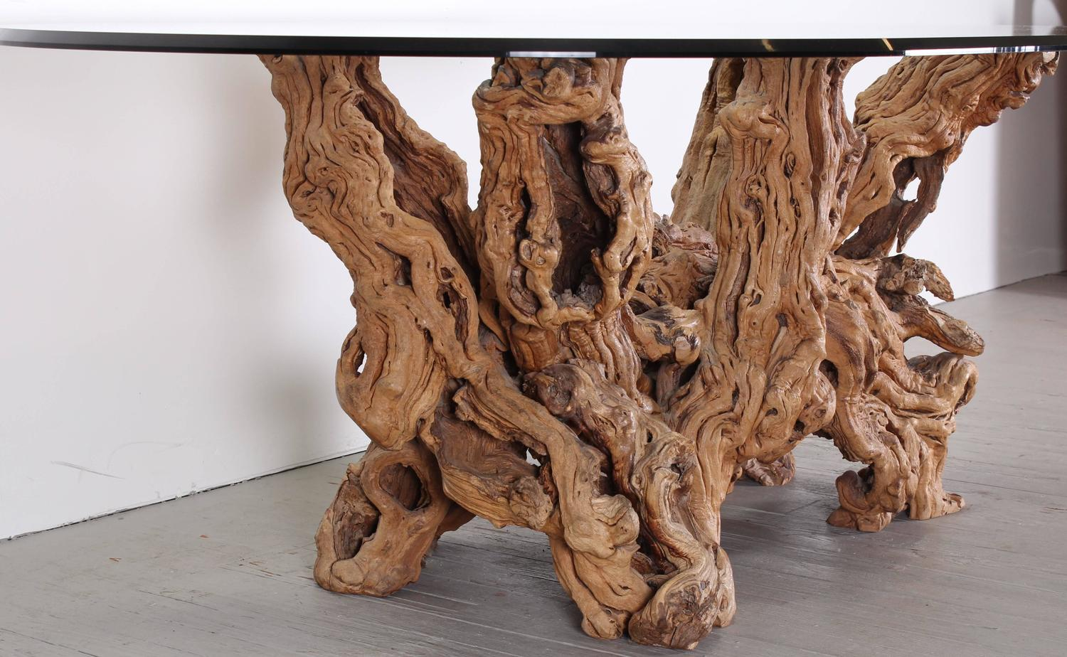 Vintage grapevine tree trunk dining table 1970 at 1stdibs for Tree trunk dining table