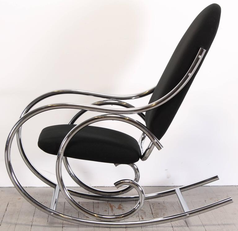 Mid-Century Modern Thonet Style Chrome Rocking Chair, 1970s